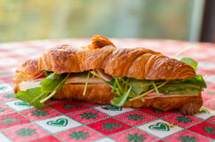 Salted brioche with salad and ham Royalty Free Stock Photos