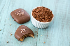 Salted Caramel Candies with Cocoa Powder Stock Photo