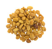 Salted caramel coated peanuts on a white background Stock Photos