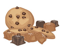 Salted caramel and cookies. An illustration of salted caramel candies with chocolate coating and chocolate chip cookies on a white background Stock Image
