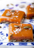 Salted caramel with pumpkin puree and seeds Stock Images