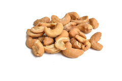 Salted cashew nut on white. Background royalty free stock images