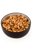 Salted Cashews in a Brown Bowl Isolated on White Stock Photos