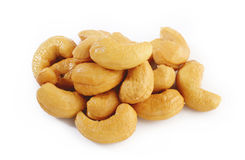 Salted cashews on white Stock Photography