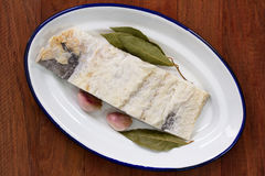 Salted cod with bay leaf Royalty Free Stock Image