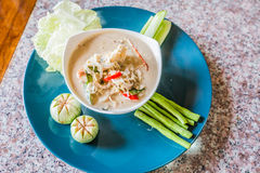 Salted crab in Coconut Milk served with Fresh Vegetables,Lon Phu Stock Photo