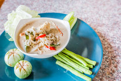 Salted crab in Coconut Milk served with Fresh Vegetables,Lon Phu Stock Image