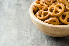 Salted crunchy pretzels in bowl Royalty Free Stock Photo
