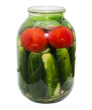 Salted cucumber and tomatoes in a jar Royalty Free Stock Photos