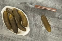 Salted cucumbers and vodka Stock Photography