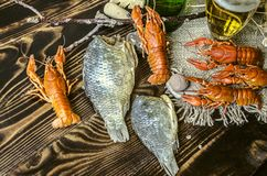 Salted and dried carps with red cancers with filled glass with foamy beer Royalty Free Stock Photography