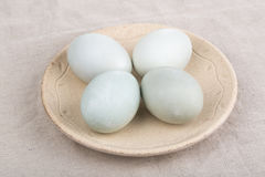 Salted Duck Egg. In plate on the table stock images