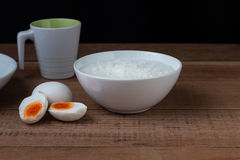 Salted egg and gruel. Chinese food Stock Photography