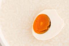 Salted Egg On Rice Porridge Stock Image