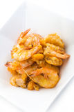 Salted Egg Prawn served on White Rectangle Bowl Stock Photo