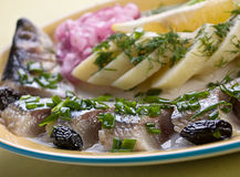 Salted fish mackerel. With boiled potato Stock Images