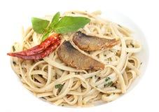 Pasta. Salted fish mix pasta in Thai style Stock Photos