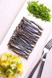 Salted fish sprat with potatoes and green onions Stock Photo