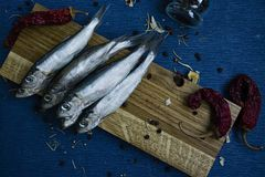 Salted fish on a wooden stand stock photo