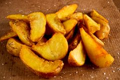 Salted fried potato royalty free stock photography