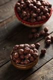 Salted Hazelnuts on Wooden Table. Salted Hazelnuts on Rustic Wooden Table Royalty Free Stock Photos