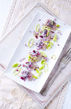 Salted Herring Fillet with Leek and Onion Stock Image