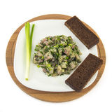 Salted herring marinated with dill onion and bread Royalty Free Stock Photography