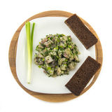 Salted herring marinated with dill onion and bread Stock Photography