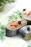 Salted herring in oil and marinade Royalty Free Stock Photos