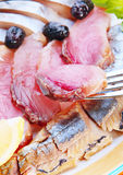 Salted herring and red fish Royalty Free Stock Image