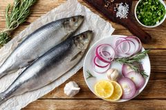 Salted herring with red onion, lemon and spices stock images