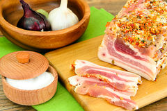 Salted Lard, Raw Pork with Spices on Wooden Royalty Free Stock Image