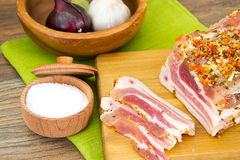 Salted Lard, Raw Pork with Spices on Wooden Stock Image