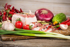 Salted lard with spices and vegetables Stock Photos