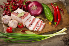 Salted lard with spices and vegetables Stock Image