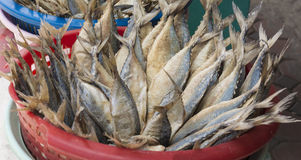 Salted mackerel, dried in a basket.  Stock Photo