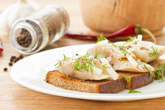 Salted mackerel with grilled toast Royalty Free Stock Photo