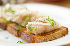 Salted mackerel with grilled toast Royalty Free Stock Photography