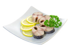 Salted mackerel with lemon Stock Photo