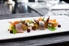 Salted and marinated herring Stock Photo