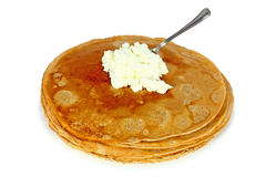 Salted pancake. Stack of salted pancake made of spelt wheat isolated on white Stock Photo