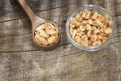 Salted peanut seeds - Arachis hypogaea. Peanuts are a food rich in antioxidants, fiber, vitamins and minerals Stock Photo