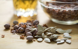 Salted peanuts and pumpkin seeds with beer Royalty Free Stock Images