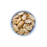 Salted peanuts in white bowl Royalty Free Stock Image