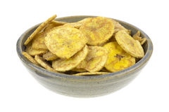 Salted plantains in bowl Royalty Free Stock Photos