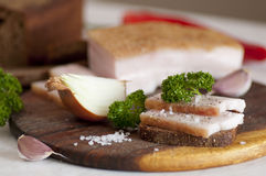 Salted pork lard (salo) on rye bread Stock Photography