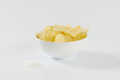 Salted potato chips Royalty Free Stock Photography