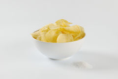 Salted potato chips Royalty Free Stock Images
