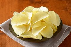 Salted potato crisps Stock Photos