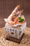 Salted Prawn. Salted fried prawn on a stone plate Royalty Free Stock Photo